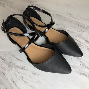 Express Point Toe Flats with Criss Cross Straps